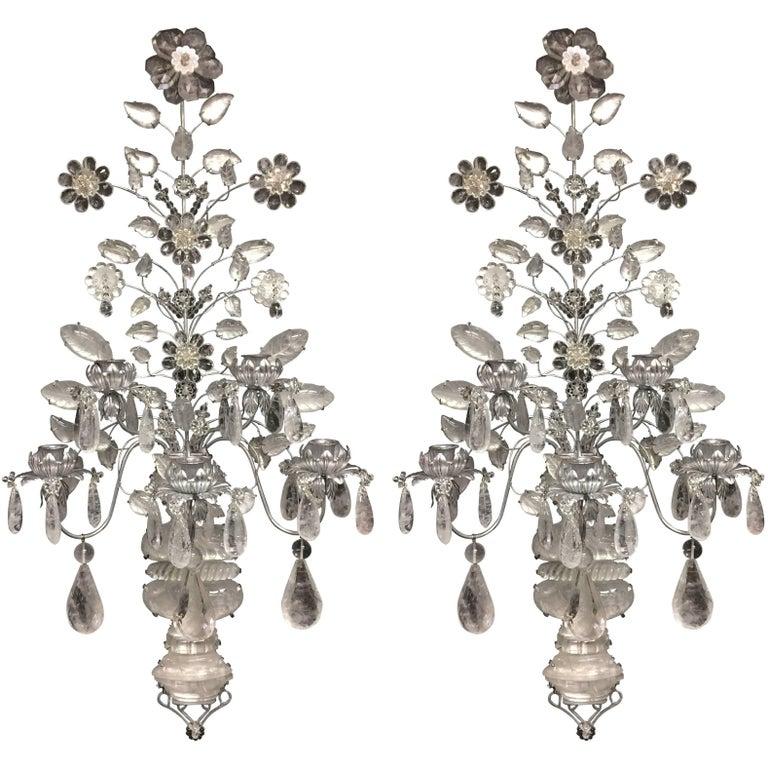 Wonderful Pair of Mid-Century Modern Baguès Rock Crystal Silver Jansen Sconces