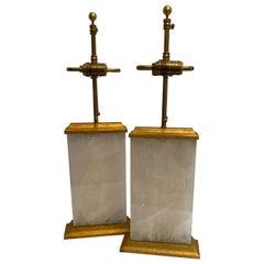 Wonderful Pair of Modern Block Form Rock Crystal Quartz Gold Gilt Metal Lamps