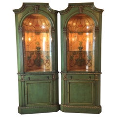 Wonderful Pair of Neo Classical Corner Cabinets w/ Hand Painted Curved Interiors