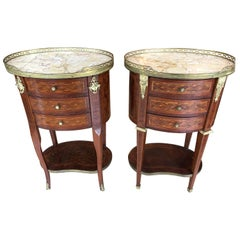 Wonderful Pair of Oval Inlay Mahogany and Marble Nightstands