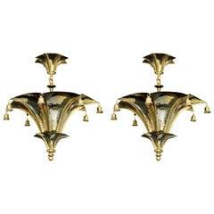 Wonderful Pair of Pagoda Brass Light Fixtures Bells Semi Flushmount Chandeliers
