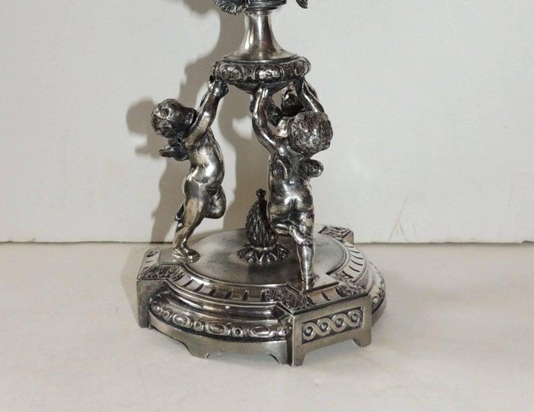 Wonderful Pair of Pairpoint Silvered Bronze Trio Cherub Candelabras Candlesticks For Sale 1