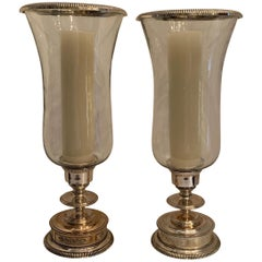 Wonderful Pair of Sheffield Silver Plate Photophere Hurricane Glass Cardholders