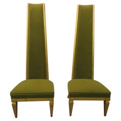Wonderful Pair of Super Tall Back Slipper Lounge Chairs Hollywood Regency