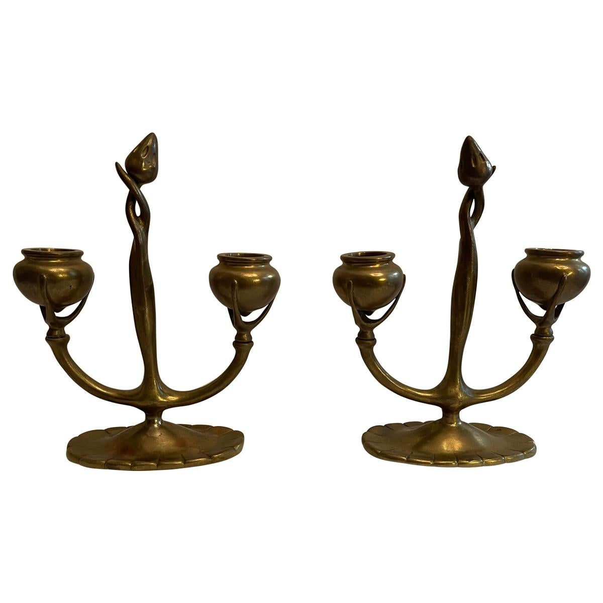 Wonderful Pair of Tiffany Studios Dore Bronze Art Nouveau Two Arm Candelabras