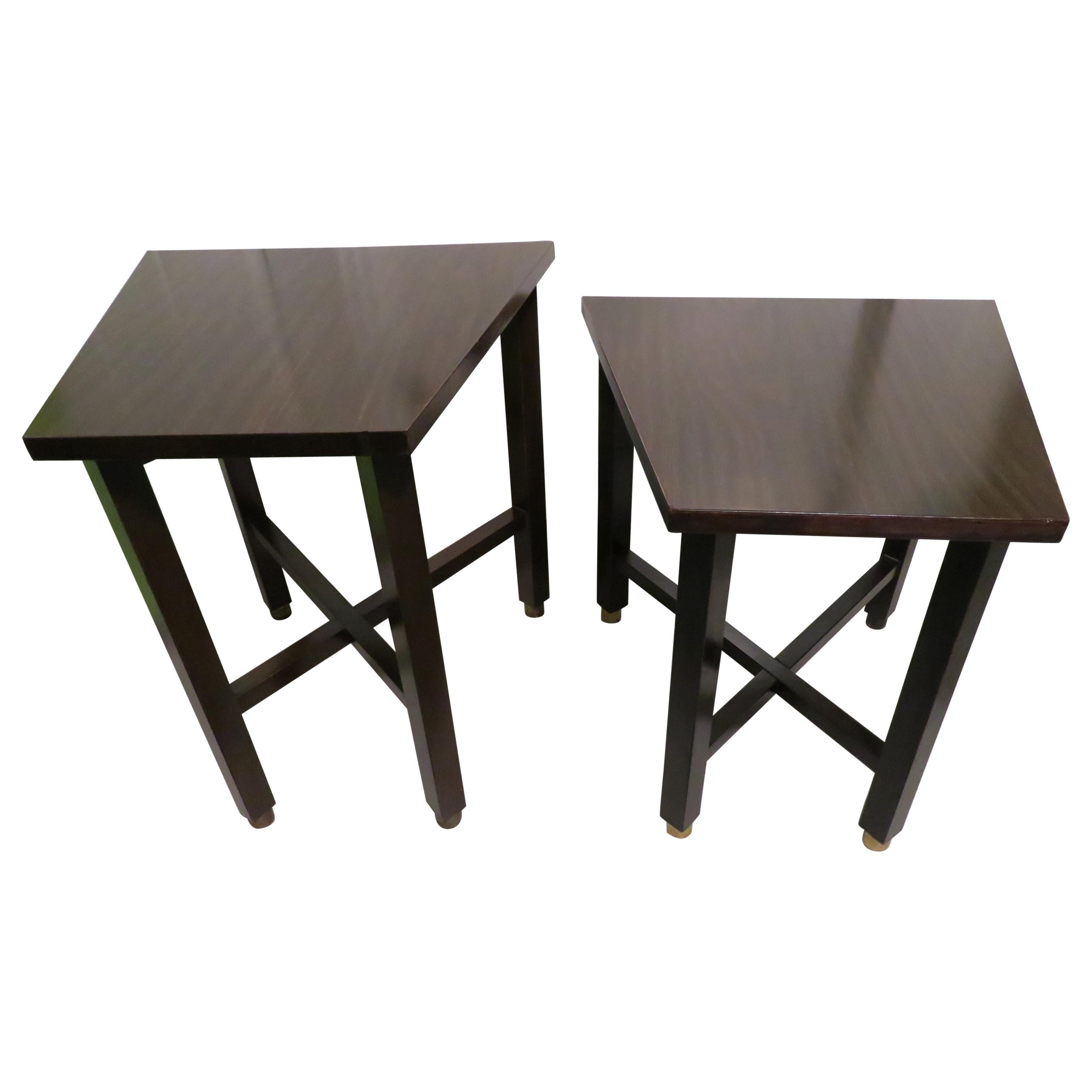 Wonderful Pair of Trapezoidal Walnut Side Table with Brass Sabots by Dunbar