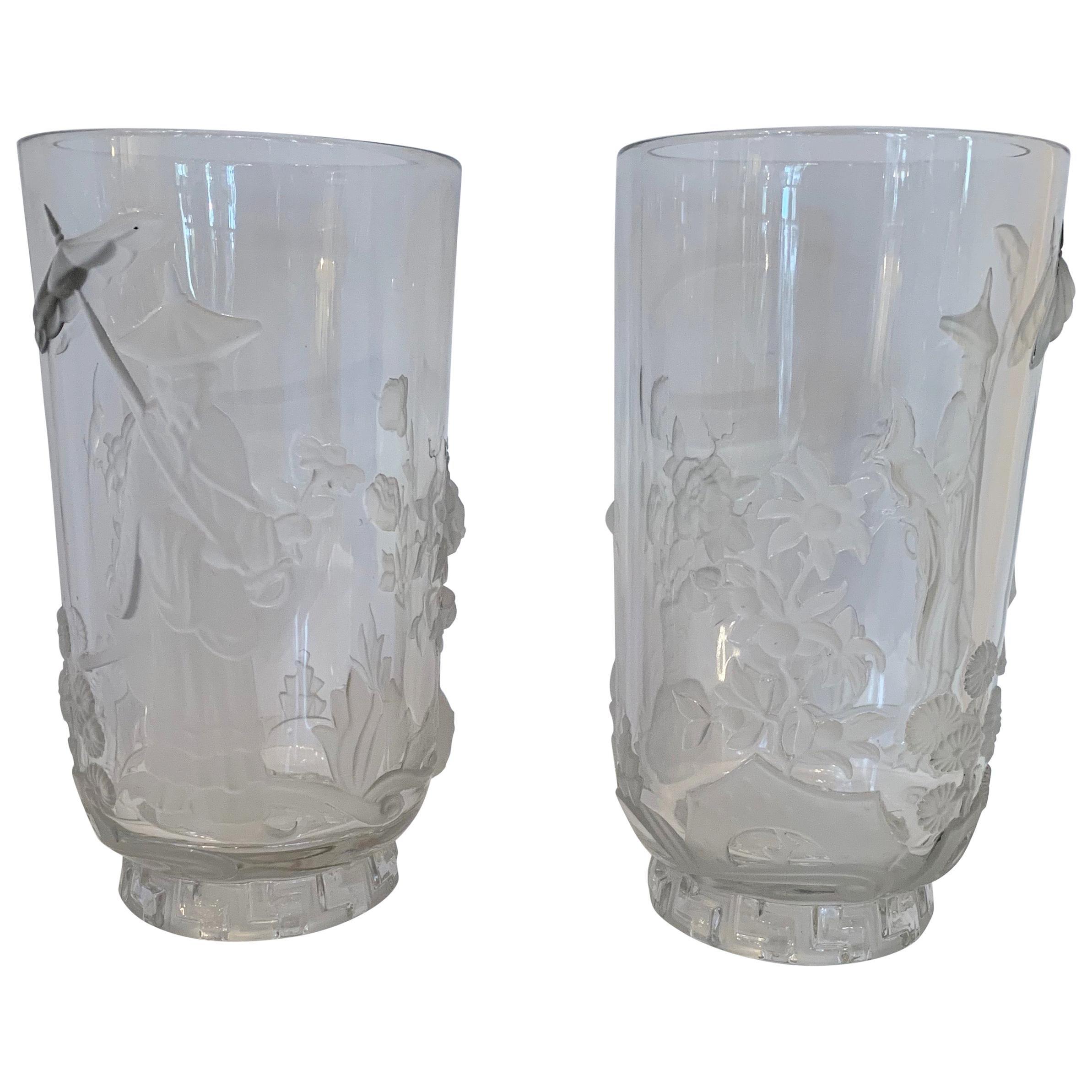 Wonderful Pair of Verlys Art Glass Mandarin Chinoiserie Vases