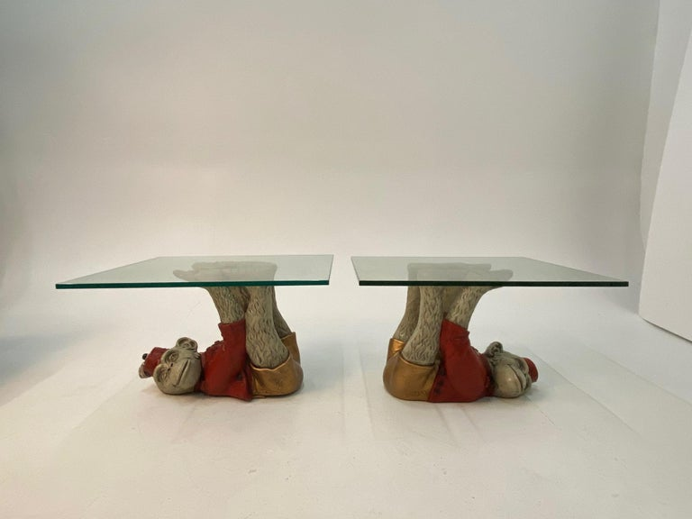 Wonderful Pair of Whimsical Monkey Motife End Tables Coffee Table For Sale 2