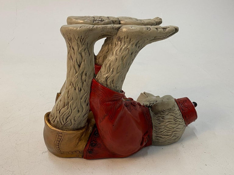 Wonderful Pair of Whimsical Monkey Motife End Tables Coffee Table For Sale 3