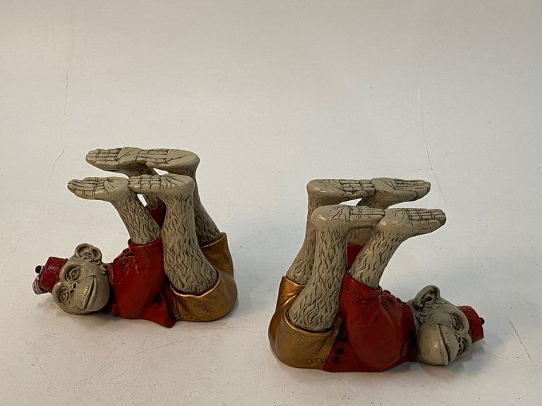 Wonderful Pair of Whimsical Monkey Motife End Tables Coffee Table For Sale 7