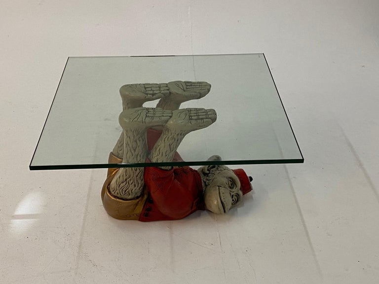 Hollywood Regency Wonderful Pair of Whimsical Monkey Motife End Tables Coffee Table For Sale
