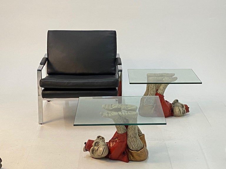 American Wonderful Pair of Whimsical Monkey Motife End Tables Coffee Table For Sale