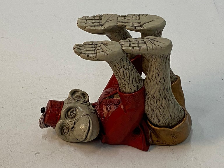 Cast Wonderful Pair of Whimsical Monkey Motife End Tables Coffee Table For Sale