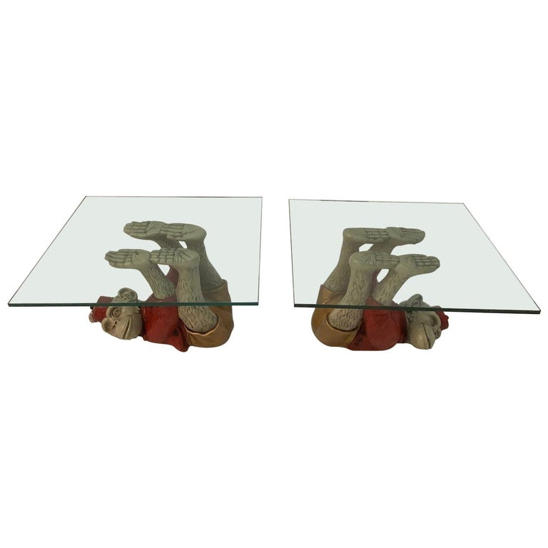 Wonderful Pair of Whimsical Monkey Motife End Tables Coffee Table For Sale