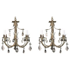 Wonderful Pair Petite Baguès Rock Star Crystal Filigree Tassel Gilt Chandeliers