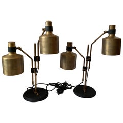 Wonderful Pair of Retro Modern Bert Frank Double Riddle Brass Black Table Lamps