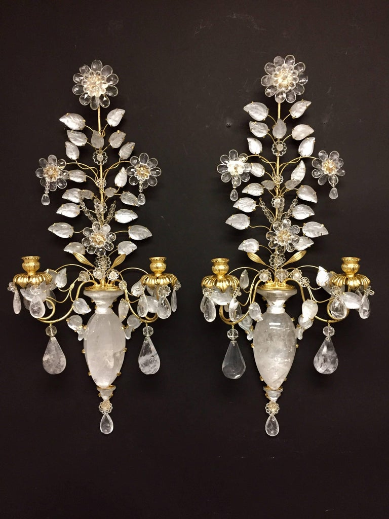 20th Century Wonderful Pair of Rock Crystal Baguès Two-Arm Mid-Century Modern Jansen Sconces For Sale