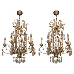 Wonderful Pair Silver Gilt Baguès French Louis XVI Rock Crystal Leaf Chandeliers