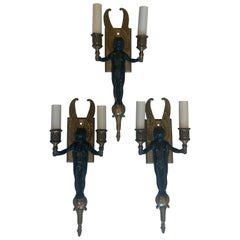 Wonderful Pair Three Patinated Two-Tone Bronze Gilt Winged Cherub Empire Sconces