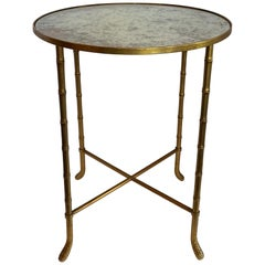 Wonderful Pair Vintage Bagues Mirrored Top Gold Gilt Brass Bamboo Side Tables