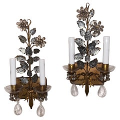 Wonderful Pair Vintage Baguès Rock Crystal Gold Leaf Flower Bow Tassel Sconces