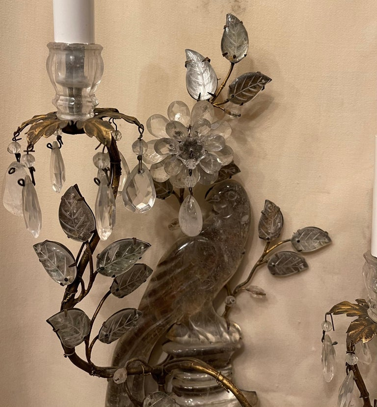 Wonderful Vintage Maison Baguès Rock Crystal Bird Parrot Urn Form Sconces, Pair In Good Condition For Sale In Roslyn, NY