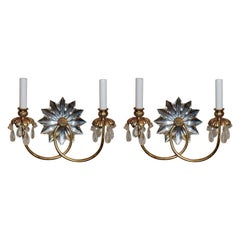 Wonderful Pair of Vintage Mid-Century Modern Star Rock Crystal Gold Gilt Sconces