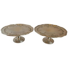 Wonderful Pair Whiting Sheraton Sterling Silver Hand Chased Centerpiece Compotes