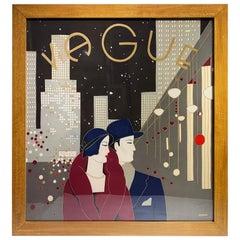 """Wonderful """"Pancaldi"""" Framed Silk Scarf Typical Art Deco Style"""