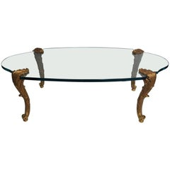 Wonderful P.E. Guerin Louis XV Leaf Form Bronze Oval Glass Coffee Cocktail Table