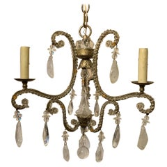 Wonderful Petite Baguès Rock Crystal Silver Gilt Crystal Beaded Chandelier