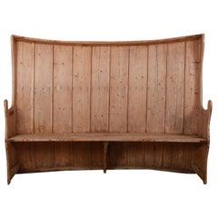 Wonderful Pine Bowed Tavern Settle / Bench