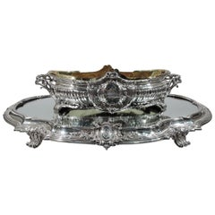 Wonderful Puiforcat French Rococo Silver Centrepiece Bowl on Plateau