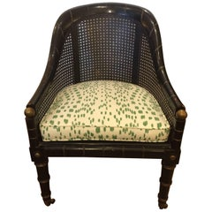 Wonderful Rare Club Chair with Ebonized Faux Bamboo Frame and Caning