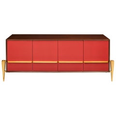 Wonderful Red Lacquered Australian Walnut Bronze Lorin Marsh Credenza Cabinet