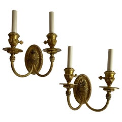 Wonderful Regency Neoclassical Pair Urn Form Bronze Empire E.F. Caldwell Sconces