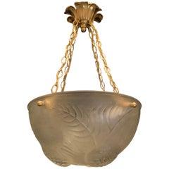 Wonderful René Lalique Dahlias Art Deco Crystal Bowl Ceiling Fixture Chandelier
