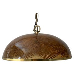 Wonderful Resin Shade with Real Leafs Pendant Lamp, 1970s Italy