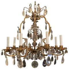 Wonderful Rock Crystal Gold Gilt 8 Light Bird Cage Chandelier