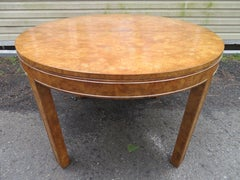 Wonderful Round Mastercraft Burled Dining Table 2 Leaves Mid-century Modern