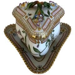 Wonderful Royal Copenhagen Flora Danica Tricot Cup and Saucer Set with Lid Mint