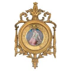 Wonderful Royal Vienna Erwartung Porcelain Portrait Plate Giltwood Frame