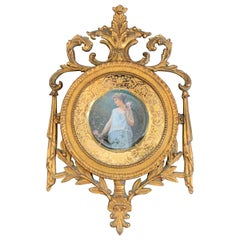 Wonderful Royal Vienna Unter Rosen Porcelain Portrait Plate Giltwood Frame