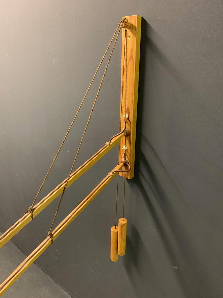 Wood Wonderful Rupprecht Skrip Counter Weight Wall Lamp  For Sale