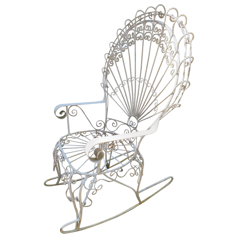 Wonderful Salterini White Wrought Iron Peacock Back Rocking Chair