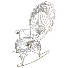 Wonderful Salterini White Wrought Iron Peacock Back Rocking Chair