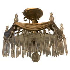 Wonderful Semi Flush Mount Bronze Drape Swag Crystal Pendent Petite Chandelier