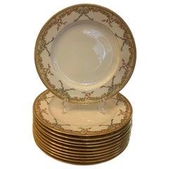 Wonderful Service 11 Hand Painted Porcelain Copeland Bow Flower Dinner Plates