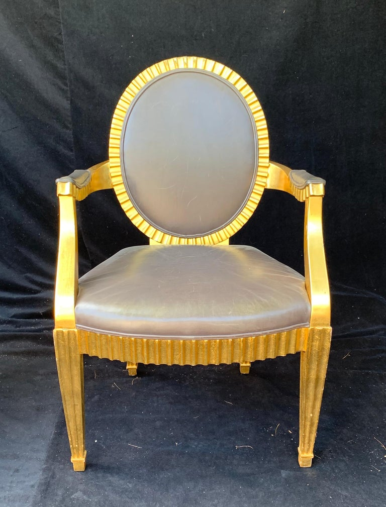 Mid-Century Modern Wonderful Set 10 John Hutton Donghia Grey Leather Gold Gilt Grand Soleil Chairs For Sale