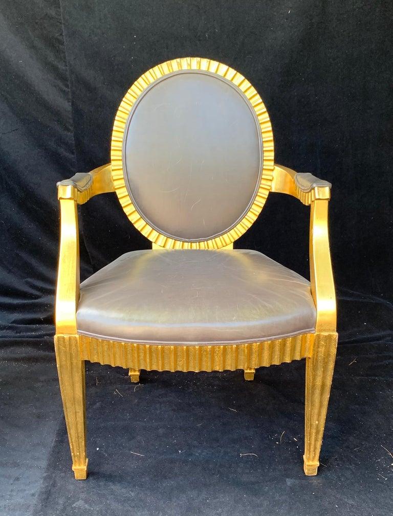 Mid-Century Modern Wonderful Set 10 John Hutton Donghia Grey Leather Gold Gilt Grand Soleil Chairs